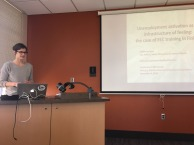 Mona Mannevuo presenting at the Institute for Global Studies.